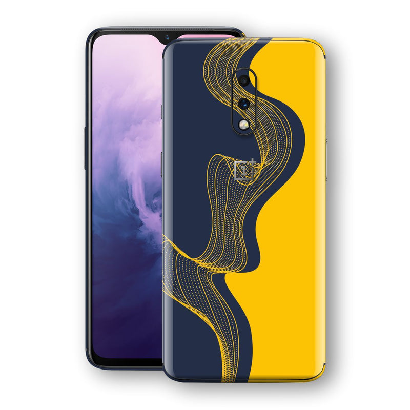 OnePlus 7 Print Custom Signature Navy Yellow Abstract Waves Skin Wrap Decal by EasySkinz