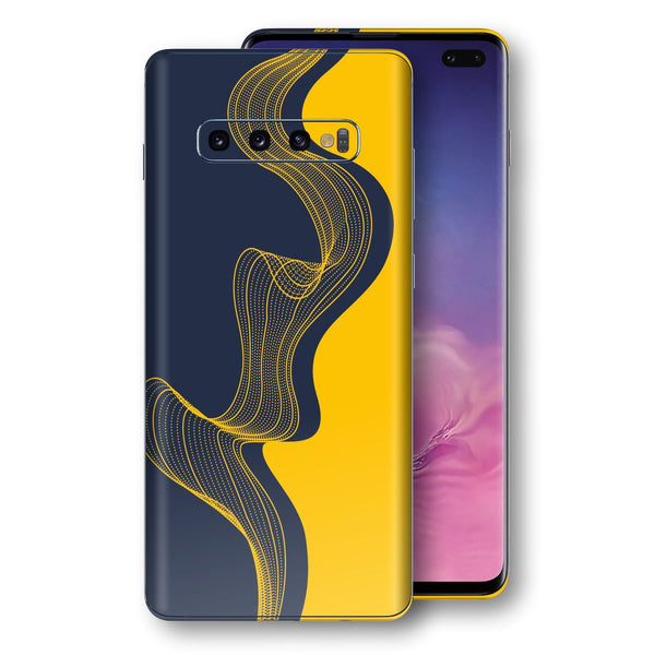 Samsung Galaxy S10+ PLUS Print Custom Signature Navy Yellow Abstract Waves Skin Wrap Decal by EasySkinz