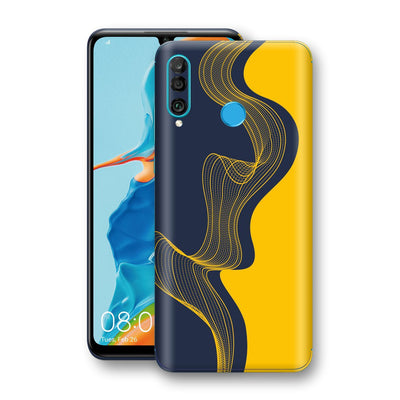 Huawei P30 LITE Print Custom Signature Navy Yellow Abstract Waves Skin Wrap Decal by EasySkinz