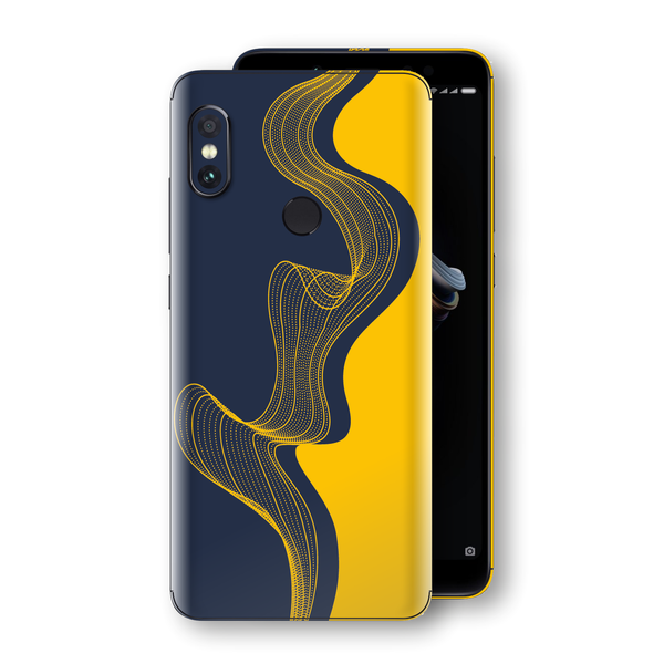 XIAOMI Redmi NOTE 5 Print Custom Signature Navy Yellow Abstract Waves Skin Wrap Decal by EasySkinz