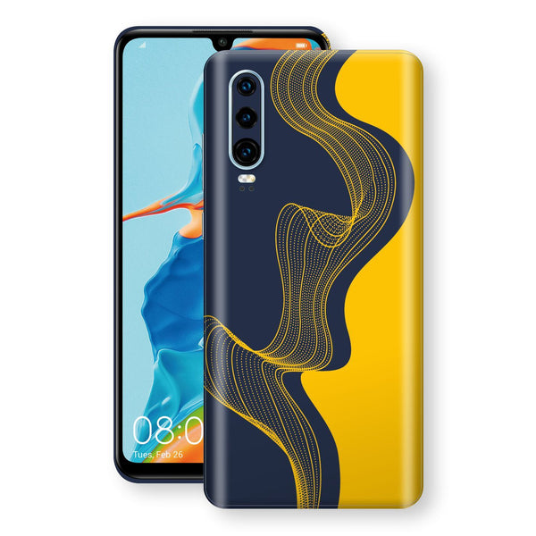 Huawei P30 Print Custom Signature Navy Yellow Abstract Waves Skin Wrap Decal by EasySkinz