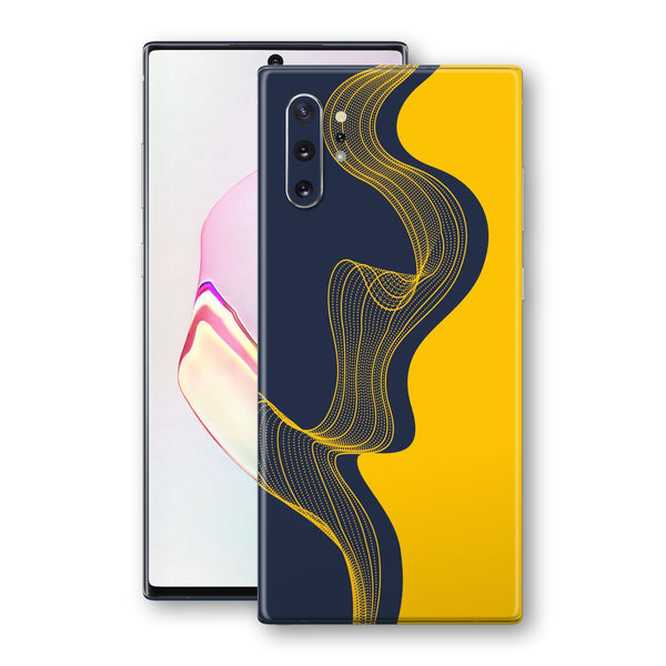 Samsung Galaxy NOTE 10+ PLUS Print Custom Signature Navy Yellow Abstract Waves Skin Wrap Decal by EasySkinz