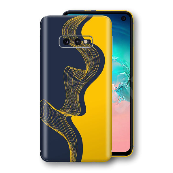Samsung Galaxy S10e Print Custom Signature Navy Yellow Abstract Waves Skin Wrap Decal by EasySkinz