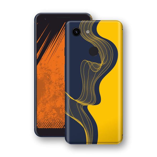 Google Pixel 3a Print Custom Signature Navy Yellow Abstract Waves Skin Wrap Decal by EasySkinz