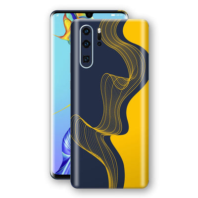 Huawei P30 PRO Print Custom Signature Navy Yellow Abstract Waves Skin Wrap Decal by EasySkinz