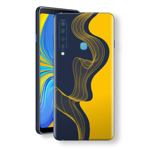 Samsung Galaxy A9 (2018) Print Custom Signature Navy Yellow Abstract Waves Skin Wrap Decal by EasySkinz