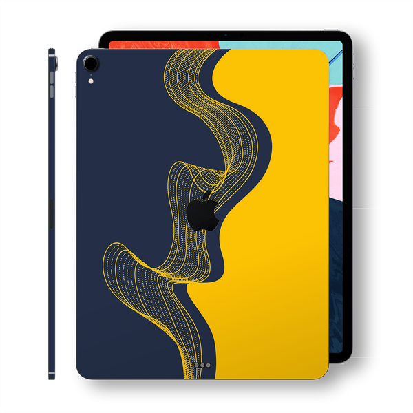 "iPad PRO 11"" inch 2018 Signature Navy-Yellow Waves Printed Skin Wrap Decal Protector 