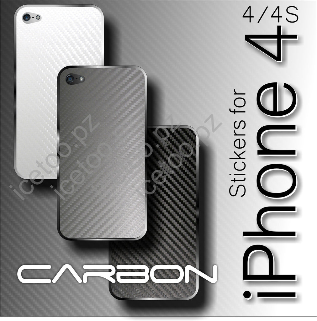 3D CARBON Fiber BACK Vinyl Skin Sticker Wrap Cover for Apple iPhone 4 / 4S