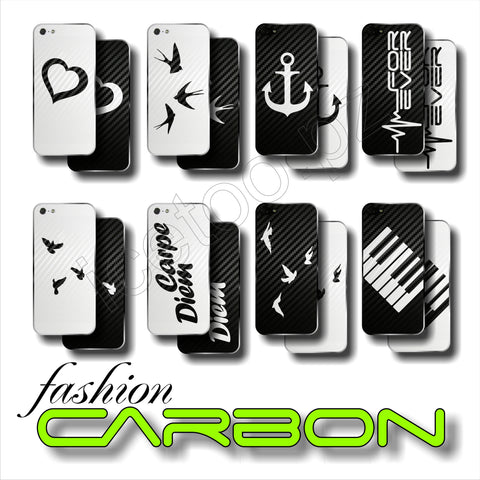 3D CARBON Fiber BACK Sticker OLD SCHOOL Skin for iPhone 5