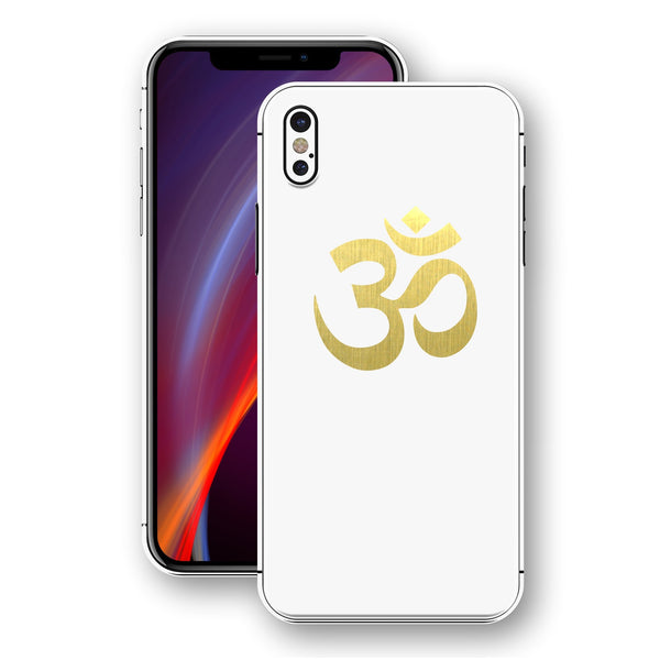 iPhone XS OM AUM Symbol Custom Design Matt White Skin Wrap Decal Protector Cover | EasySkinz
