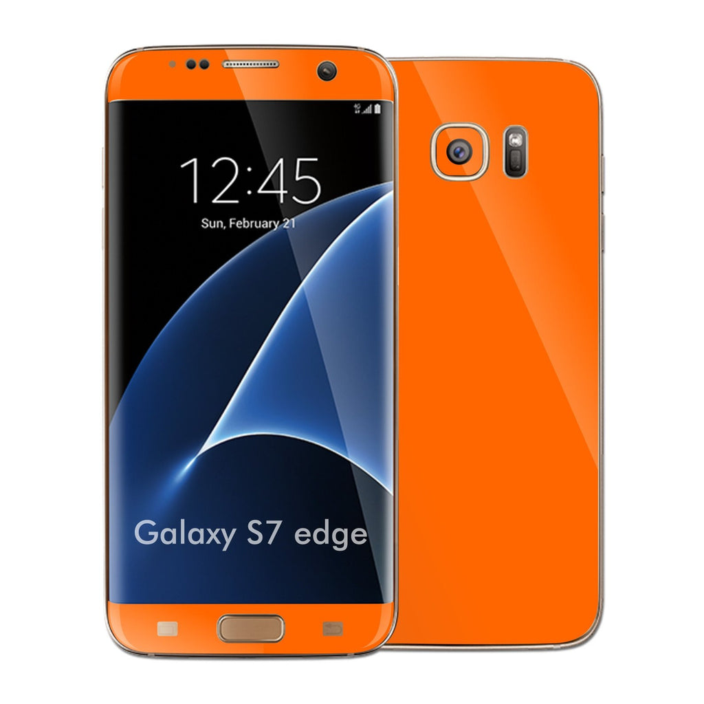 Samsung Galaxy S7 EDGE Glossy Orange Skin Wrap Decal Sticker Cover Protector by EasySkinz
