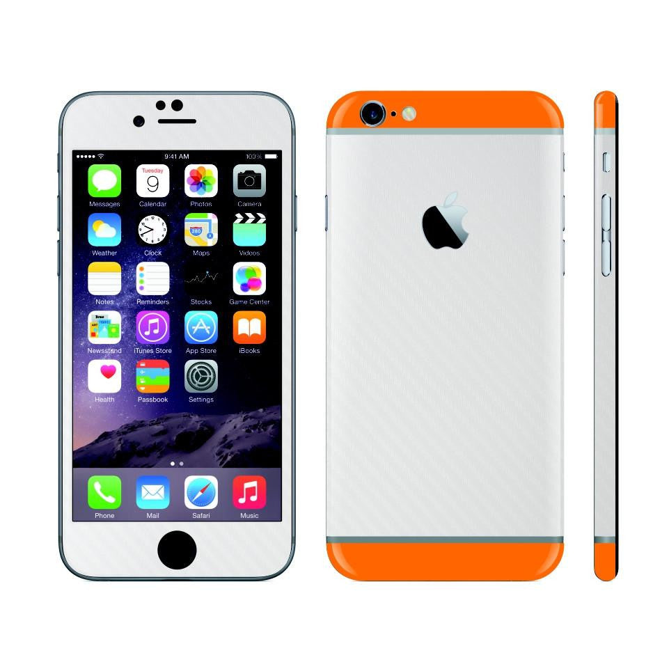 iPhone 6 White Carbon Fibre Skin with Orange Matt Highlights Cover Decal Wrap Protector Sticker by EasySkinz