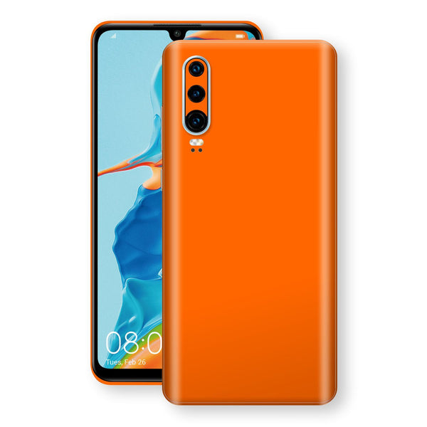 Huawei P30 Orange Glossy Gloss Finish Skin, Decal, Wrap, Protector, Cover by EasySkinz | EasySkinz.com