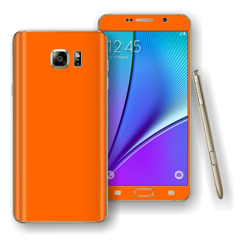 Samsung Galaxy NOTE 5 Orange Glossy Skin Wrap Decal Cover Protector by EasySkinz
