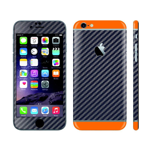 iPhone 6S NAVY BLUE Carbon Fibre Fiber Skin with Orange Matt Highlights Cover Decal Wrap Protector Sticker by EasySkinz