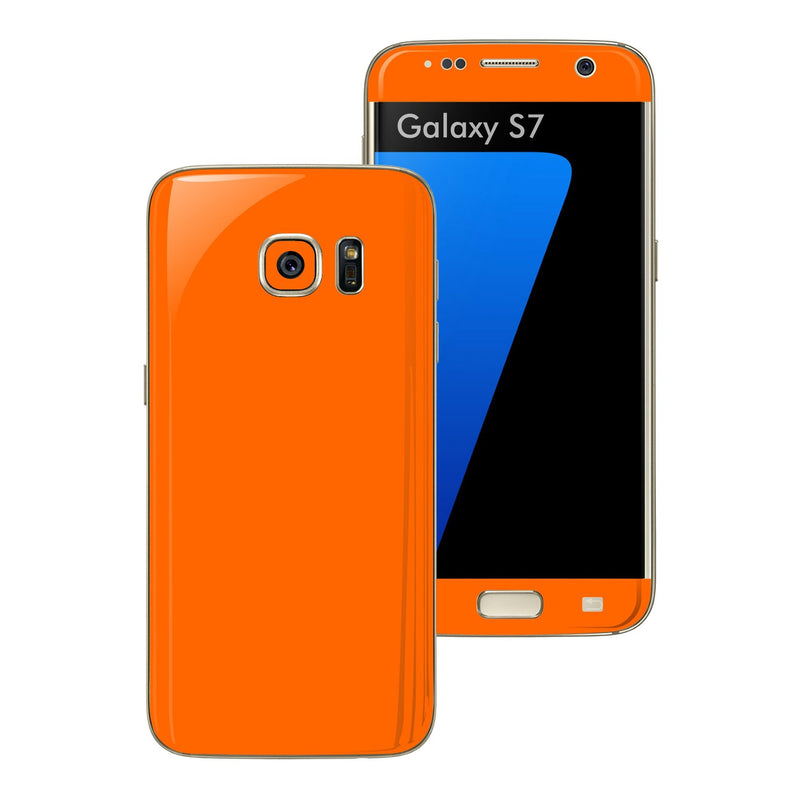 Samsung Galaxy S7 Glossy Orange Skin Wrap Decal Sticker Cover Protector by EasySkinz