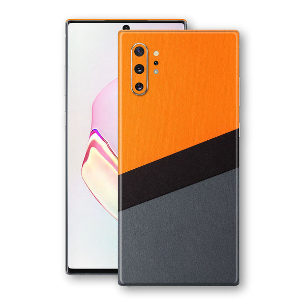 Samsung Galaxy NOTE 10+ PLUS Print Custom SIGNATURE Orange-Black PAPER Skin Wrap Decal by EasySkinz