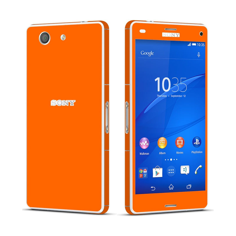 Sony Xperia Z3 COMPACT Orange Matt Skin Wrap Sticker Cover Decal Protector By EasySkinz
