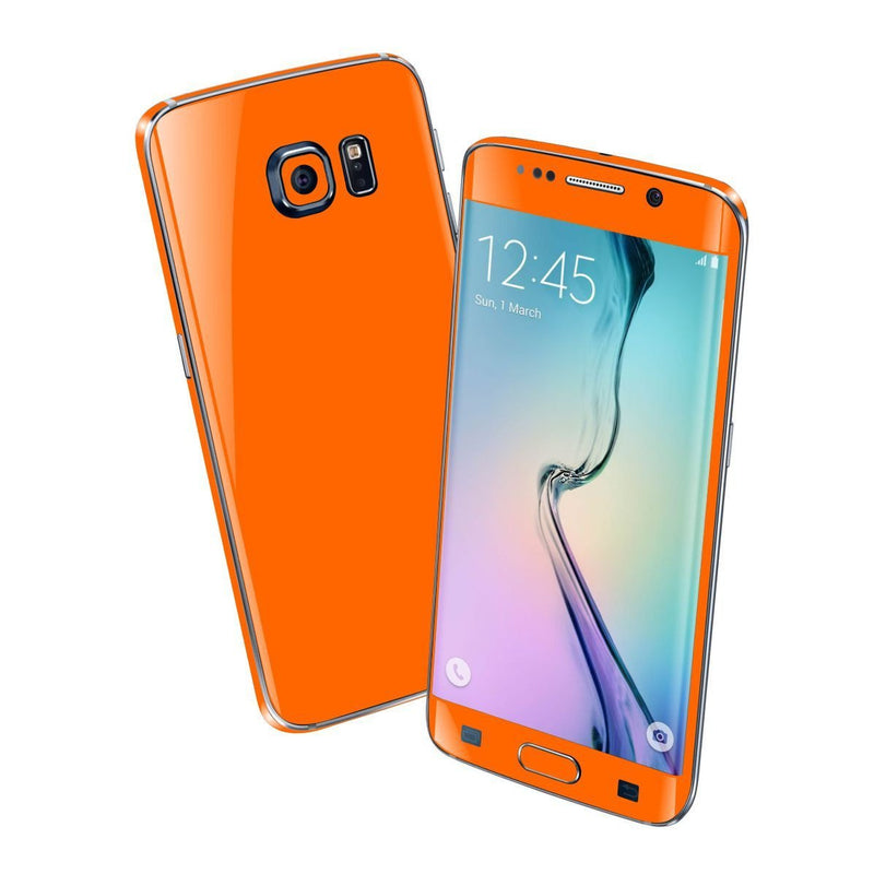 Samsung Galaxy S6 EDGE Colorful GLOSS GLOSSY Orange Skin Wrap Sticker Cover Protector Decal by EasySkinz