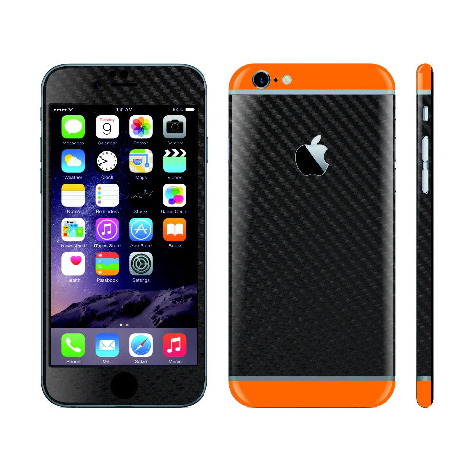 iPhone 6S Black Carbon Fibre Skin with Orange Matt Highlights Cover Decal Wrap Protector Sticker by EasySkinz