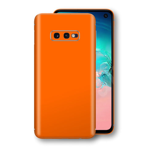Samsung Galaxy S10e Orange Glossy Gloss Finish Skin, Decal, Wrap, Protector, Cover by EasySkinz | EasySkinz.com