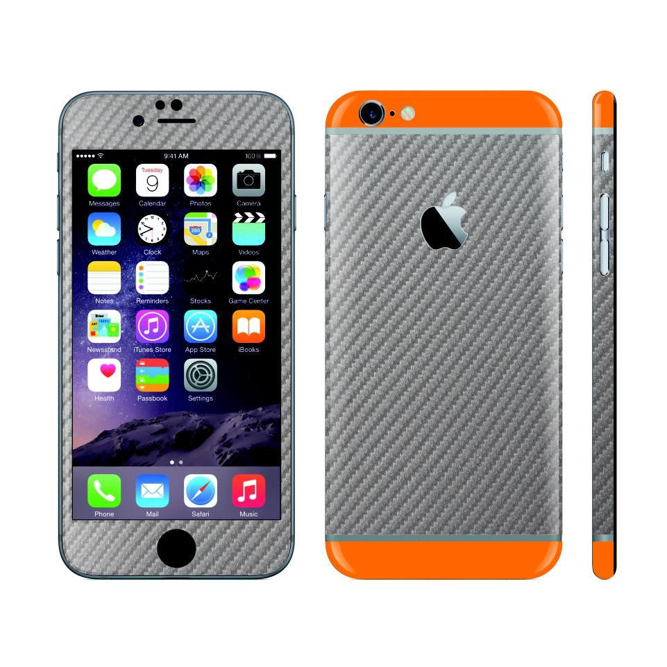 iPhone 6 Plus Metallic Grey Carbon Fibre Skin with Orange Matt Highlights Cover Decal Wrap Protector Sticker by EasySkinz