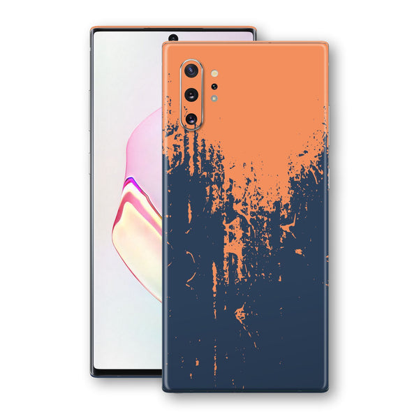 Samsung Galaxy NOTE 10+ PLUS Print Custom Signature Navy Orange Sprayed Paint Skin Wrap Decal by EasySkinz