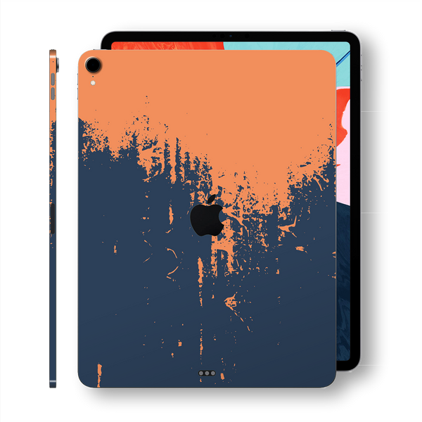 "iPad PRO 11"" inch 2018 Signature Navy-Orange Sprayed Paint Printed Skin Wrap Decal Protector 
