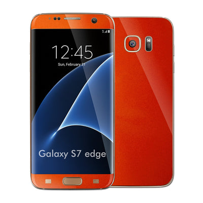 Samsung Galaxy S7 EDGE 3M Fiery Orange Tuning Metallic Skin Wrap Decal Sticker Cover Protector by EasySkinz