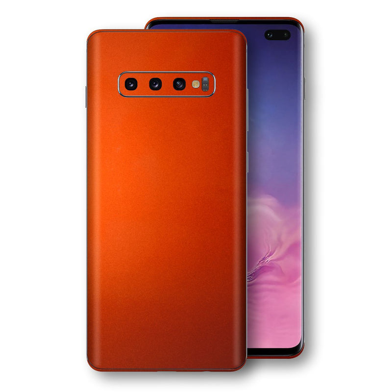 Samsung Galaxy S10+ PLUS Fiery Orange Tuning Metallic Skin, Decal, Wrap, Protector, Cover by EasySkinz | EasySkinz.com