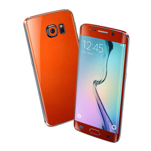 Samsung Galaxy S6 EDGE 3M Glossy Fiery Orange Metallic Skin Wrap Sticker Cover Protector Decal by EasySkinz