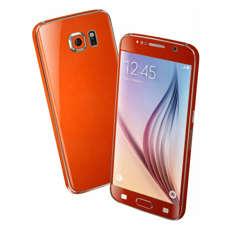 Samsung Galaxy S6 3M Glossy Fiery Orange Metallic Skin Wrap Sticker Cover Protector Decal by EasySkinz
