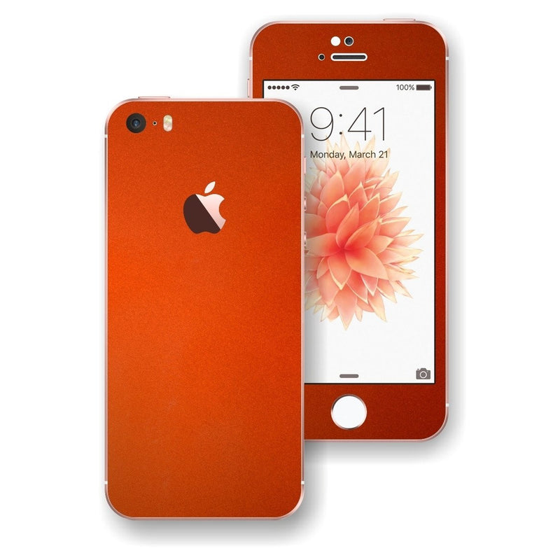 iPhone SE 3M Glossy Fiery ORANGE Skin Wrap Decal Sticker Cover Protector by EasySkinz