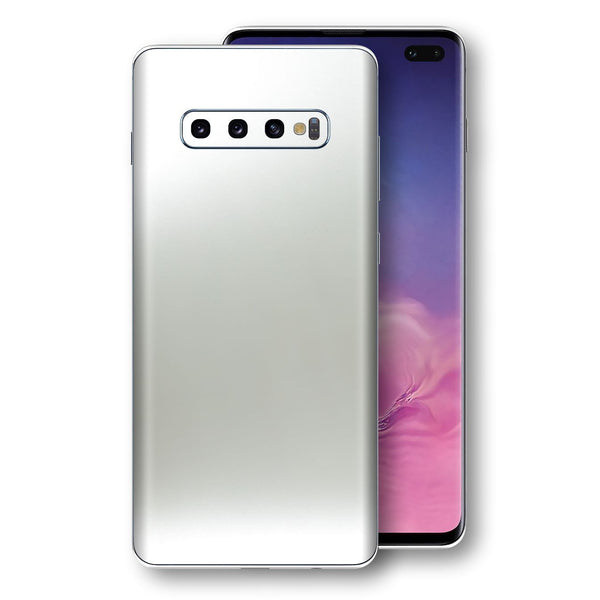 Samsung Galaxy S10+ PLUS Satin Pearl White Matt Skin, Decal, Wrap, Protector, Cover by EasySkinz | EasySkinz.com