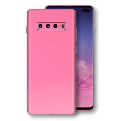 Samsung Galaxy S10+ PLUS Hot Pink Glossy Gloss Finish Skin, Decal, Wrap, Protector, Cover by EasySkinz | EasySkinz.com