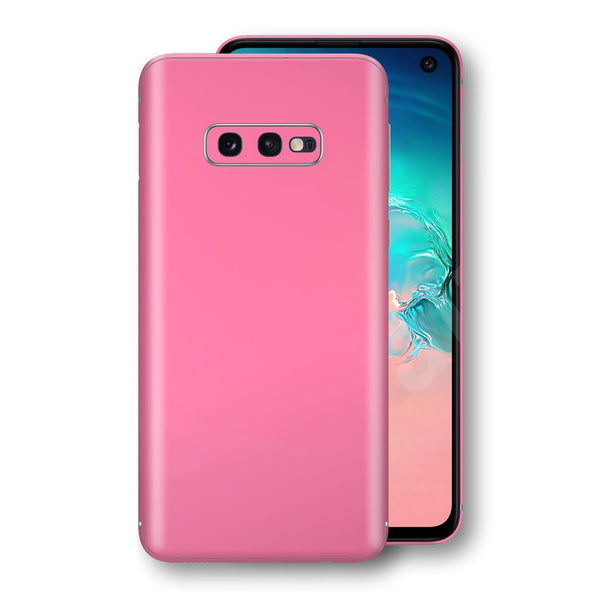 Samsung Galaxy S10e Hot Pink Glossy Gloss Finish Skin, Decal, Wrap, Protector, Cover by EasySkinz | EasySkinz.com
