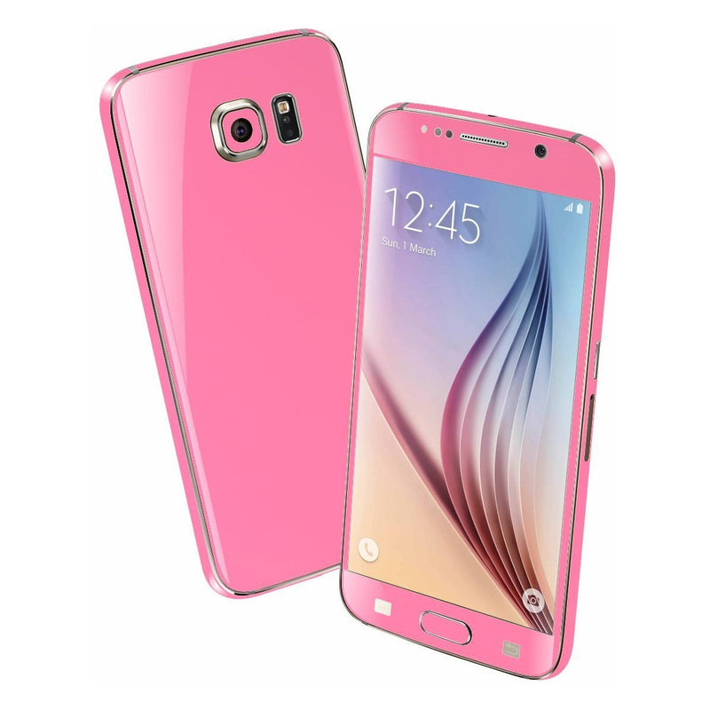 Samsung Galaxy S6 Colorful 3M HOT PINK GLOSSY Skin Wrap Sticker Cover Protector Decal by EasySkinz