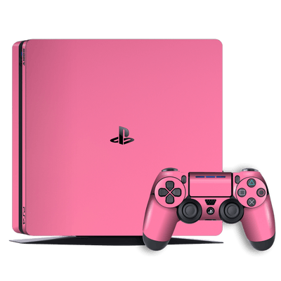 Playstation 4 SLIM PS4 Slim Glossy Hot Pink Skin Wrap Decal by EasySkinz