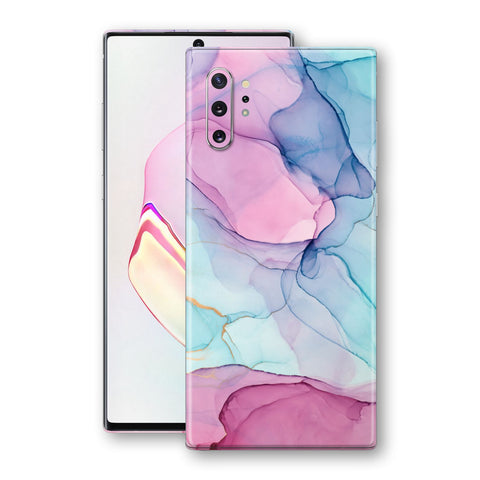 Samsung Galaxy NOTE 10+ PLUS Print Custom SIGNATURE Pink-Blue CRYSTAL Skin Wrap Decal by EasySkinz
