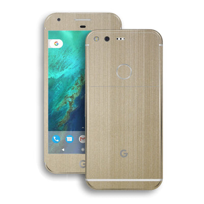 Google Pixel XL Premium Brushed Champagne Gold Metallic Metal Skin Wrap Decal by EasySkinz