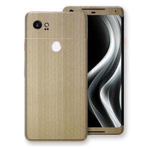 Google Pixel 2 XL Premium Brushed Champagne Gold Metallic Metal Skin, Decal, Wrap, Protector, Cover by EasySkinz | EasySkinz.com