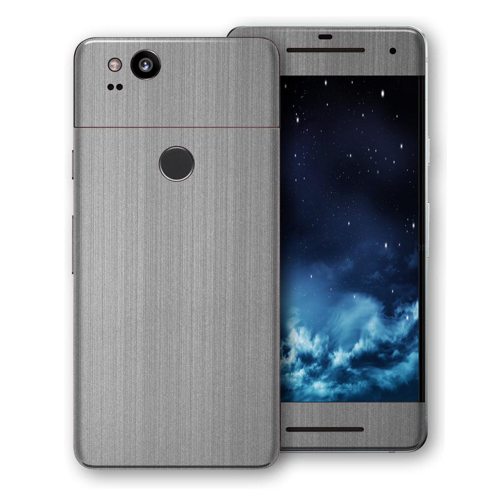 Google Pixel 2 Premium Brushed STEEL Metallic Metal Skin, Decal, Wrap, Protector, Cover by EasySkinz | EasySkinz.com