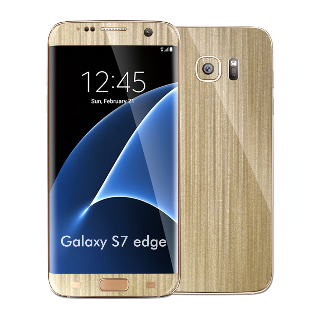 Samsung Galaxy S7 EDGE Brushed Champagne Gold Metallic Skin Wrap Decal Protector Cover Sticker by EasySkinz