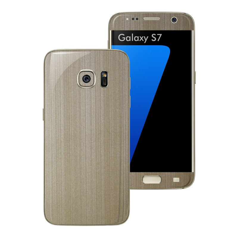 Samsung Galaxy S7 Brushed Champagne Gold Metallic Skin Wrap Decal Protector Cover Sticker by EasySkinz