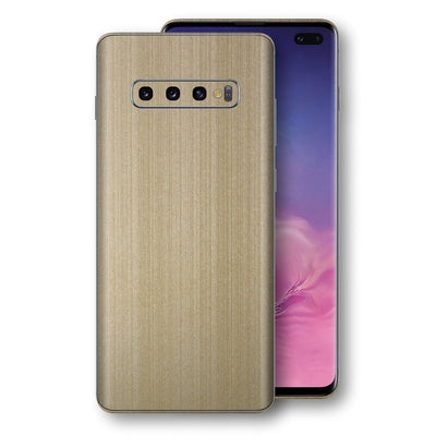 Samsung Galaxy S10+ PLUS Premium Brushed Champagne Gold Metallic Metal Skin, Decal, Wrap, Protector, Cover by EasySkinz | EasySkinz.com