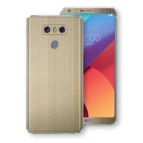 LG G6 Premium Brushed Champagne Gold Metallic Metal Skin, Decal, Wrap, Protector, Cover by EasySkinz | EasySkinz.com