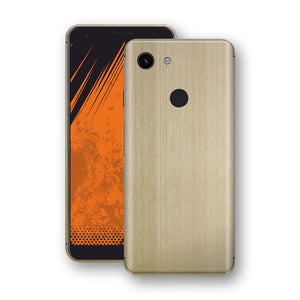 Google Pixel 3a Premium Brushed Champagne Gold Metallic Metal Skin, Decal, Wrap, Protector, Cover by EasySkinz | EasySkinz.com