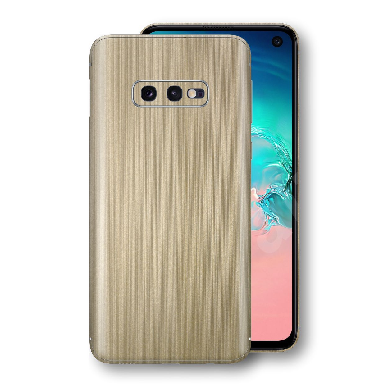 Samsung Galaxy S10e Premium Brushed Champagne Gold Metallic Metal Skin, Decal, Wrap, Protector, Cover by EasySkinz | EasySkinz.com