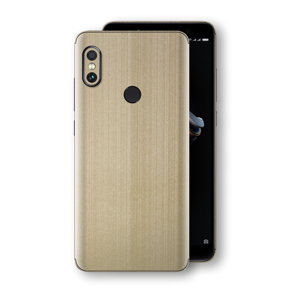 XIAOMI Redmi NOTE 5 Premium Brushed Champagne Gold Metallic Metal Skin, Decal, Wrap, Protector, Cover by EasySkinz | EasySkinz.com