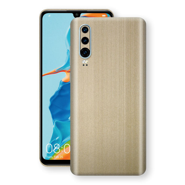 Huawei P30 Premium Brushed Champagne Gold Metallic Metal Skin, Decal, Wrap, Protector, Cover by EasySkinz | EasySkinz.com